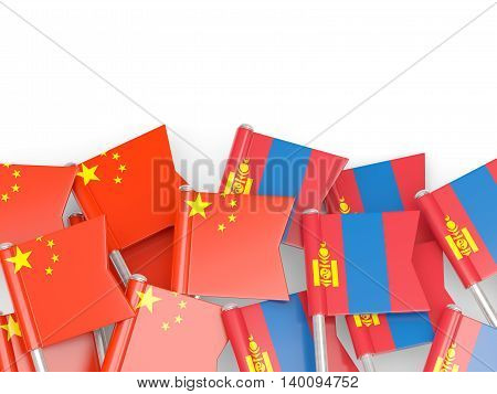 Flags Of China And Mongolia Isolated On White