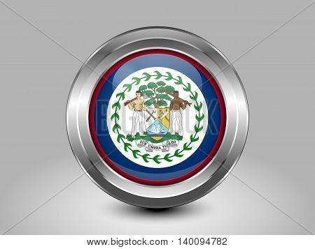 Flag Of Belize. Metal And Glass Round Icon