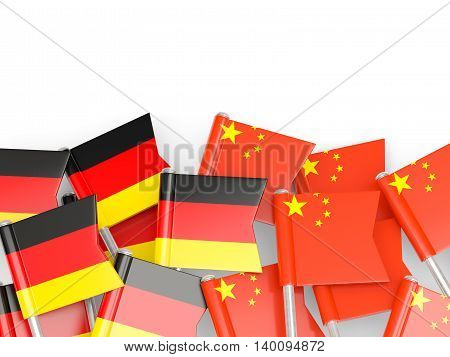 Flags Of Germany And China  Isolated On White