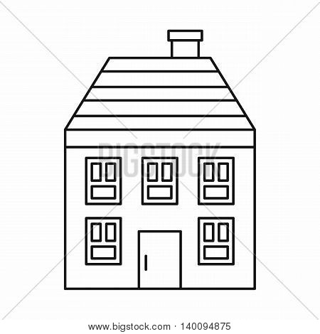 Wooden house icon in outline style on a white background