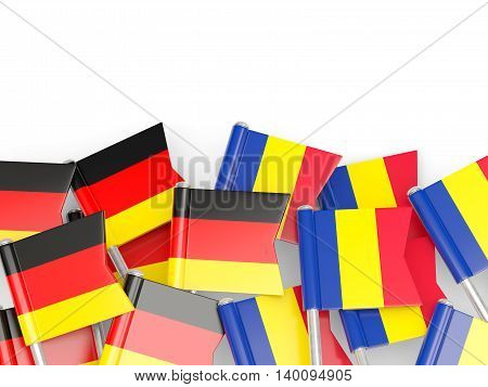 Flags Of Germany And Romania  Isolated On White