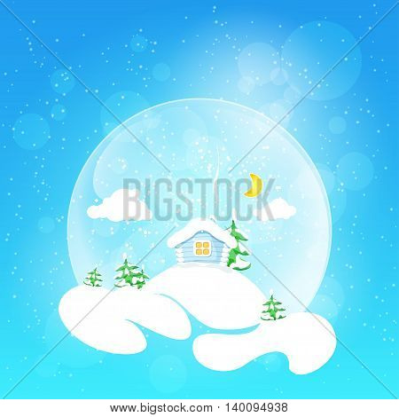 Christmas design. The little house with the moon and clouds and fir tree in snow globe on a bright defocused background with glittering lights and snowflakes