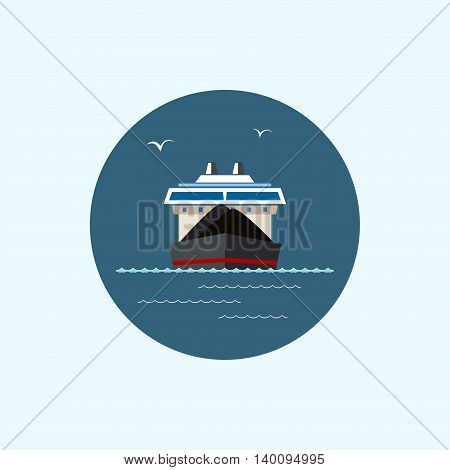 Round icon with colored dry cargo ship, logistics icons