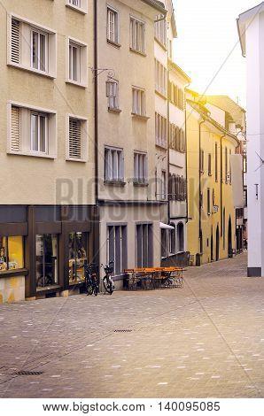 Evening streets of the historical city center. Chur. Switzerland.