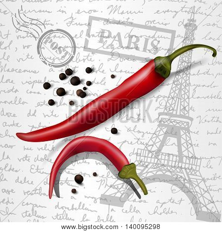 table top with sketching paper on hand-drawn writing background with eiffel tower red and black pepper chilly