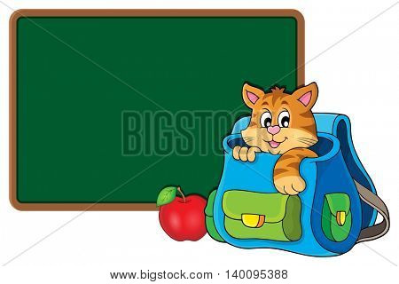 Cat in schoolbag theme image 2 - eps10 vector illustration.