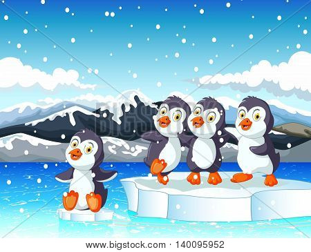funny penguins cartoon playing with snow mountain landscape background