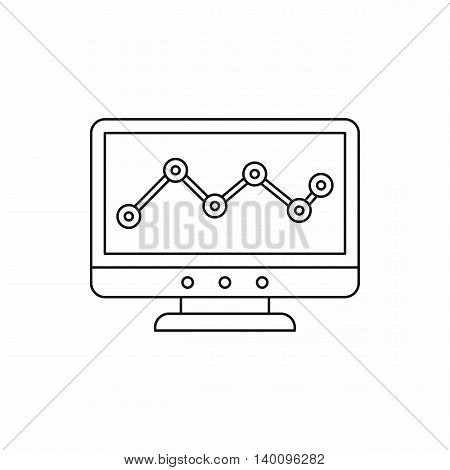 Computer monitor with business graph icon in outline style on a white background
