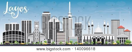 Lagos Skyline with Gray Buildings and Blue Sky. Business Travel and Tourism Concept with Modern Buildings. Image for Presentation Banner Placard and Web Site.