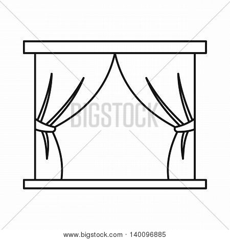 Stage curtains icon in outline style on a white background