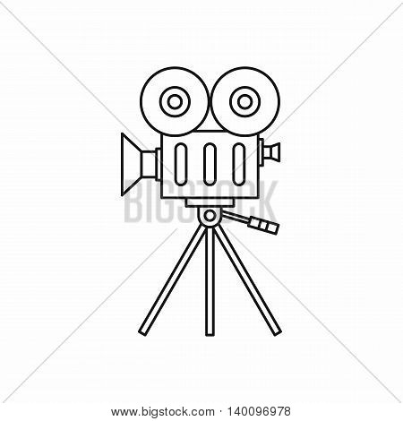 Retro cinema camera icon in outline style on a white background