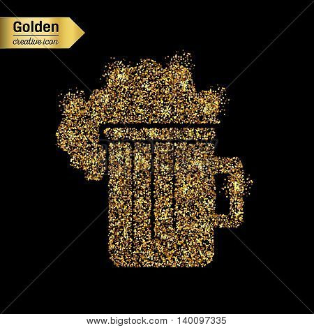 Gold glitter vector icon of beer isolated on background. Art creative concept illustration for web, glow light confetti, bright sequins, sparkle tinsel, abstract bling, shimmer dust, foil.
