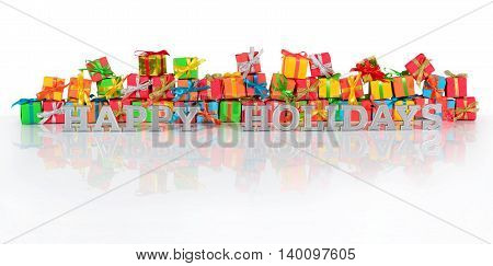 Happy Holidays Silver Text And Gifts