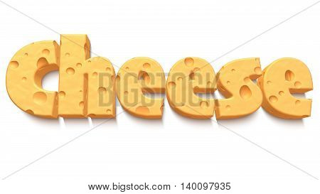 The word cheese with a cheesy texture isolated on white 3D illustration