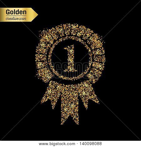 Gold glitter vector icon of trophy medal isolated on background. Art creative concept illustration for web, glow light confetti, bright sequins, sparkle tinsel, abstract bling, shimmer dust, foil.