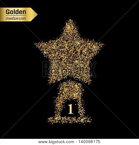 Gold glitter vector icon of statuette isolated on background. Art creative concept illustration for web, glow light confetti, bright sequins, sparkle tinsel, abstract bling, shimmer dust, foil.