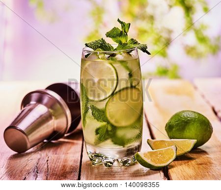 Alcohol drink. Wooden boards tumbler glass with alcohol drink and ice cubes. Drink two hundred seventy one cocktail mohito with cocktail shaker and mint leaf. Country life. Outdoor. Light background.