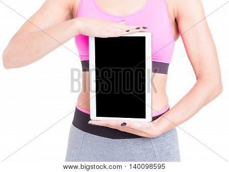 Woman Holding Black Screen Tablet Wearing Sports Wear
