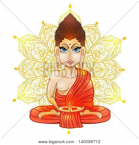 Drawing of a Buddha statue. Art vector illustration of Gautama. Buddhism Religion. Buddha Bless Band. Design for greeting card, print clothing. The concept of Yoga Studio.