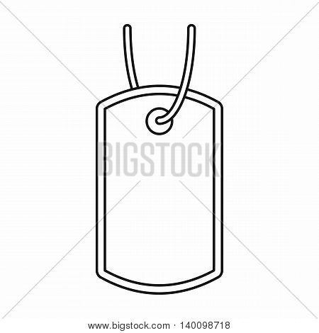 Identification army badge icon in outline style on a white background
