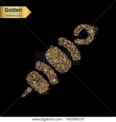 Gold glitter vector icon of shish isolated on background. Art creative concept illustration for web, glow light confetti, bright sequins, sparkle tinsel, abstract bling, shimmer dust, foil.