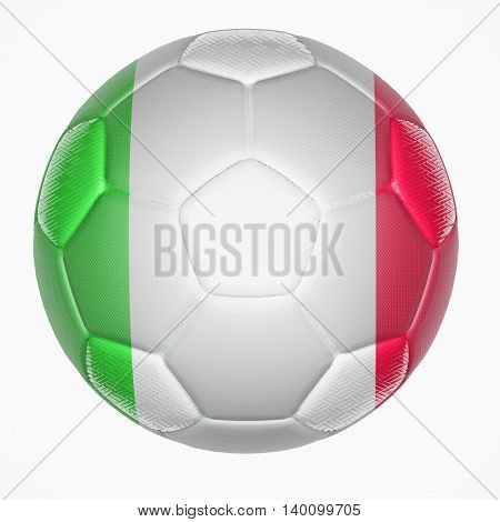 3D illustration of Soccer ball mapping with Italy flag