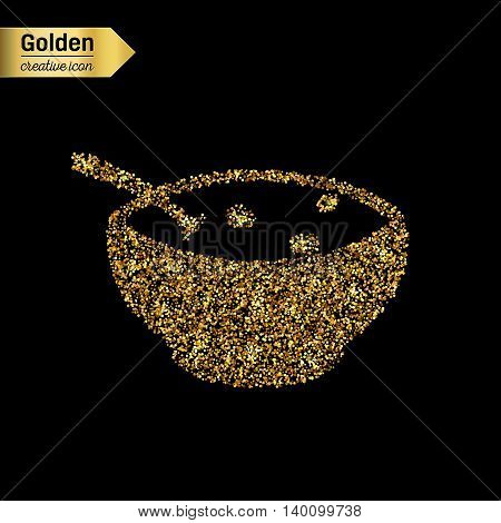 Gold glitter vector icon of soup isolated on background. Art creative concept illustration for web, glow light confetti, bright sequins, sparkle tinsel, abstract bling, shimmer dust, foil.