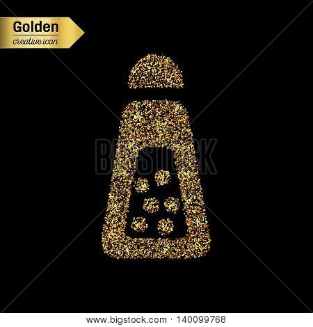 Gold glitter vector icon of Salt Shaker isolated on background. Art creative concept illustration for web, glow light confetti, bright sequins, sparkle tinsel, abstract bling, shimmer dust, foil.