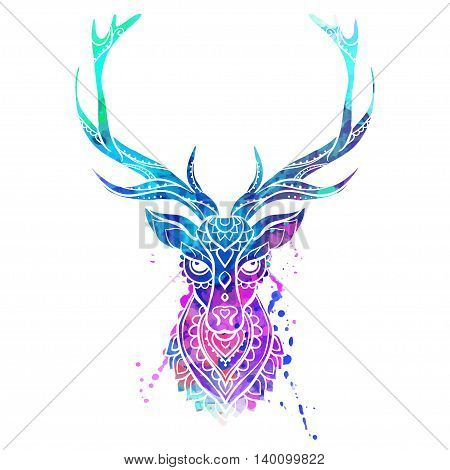 Ornament deer vector. Beautiful illustration for design, print clothing, stickers, tattoos, Adult Coloring book. Hand drawn animal illustration. Bohemian lace watercolor