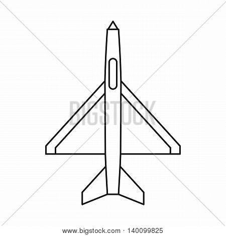 Military aircraft icon in outline style on a white background