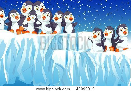 funny penguins family with snow mountain landscape background