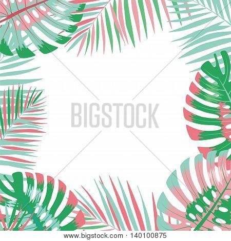 Palm leaves background. Vector illustration. Eps 10