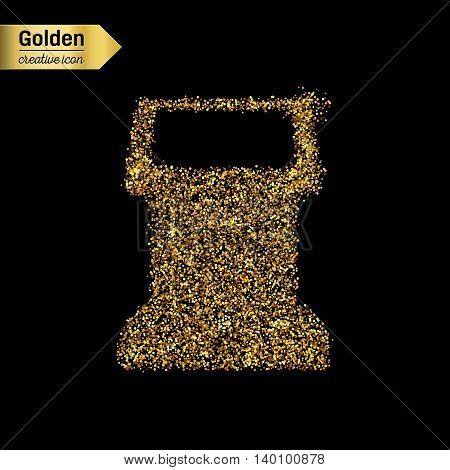 Gold glitter vector icon of terminal screen isolated on background. Art creative concept illustration for web, glow light confetti, bright sequins, sparkle tinsel, abstract bling, shimmer dust, foil.