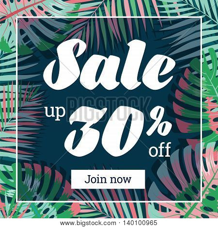 Summer sale. Web-banner or poster with palm leaves.