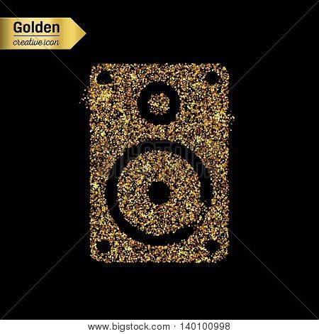 Gold glitter vector icon of music column isolated on background. Art creative concept illustration for web, glow light confetti, bright sequins, sparkle tinsel, abstract bling, shimmer dust, foil.