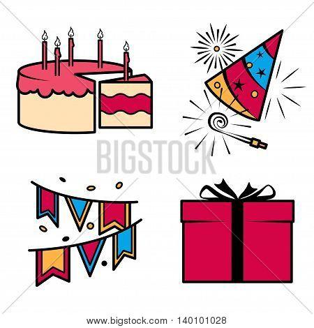 Birthday party celebration icons set. Vector ilustration