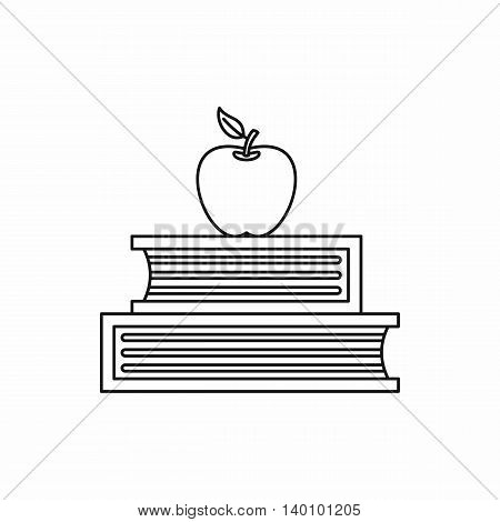 Two books and apple icon in outline style on a white background