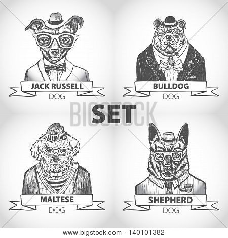 Hipster Animals Set Dog, With Glasses And Bow Ties Vector