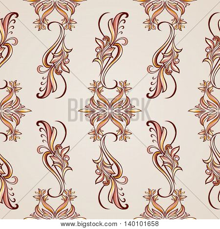Floral style seamless pattern with elements in brown and rose pink shades