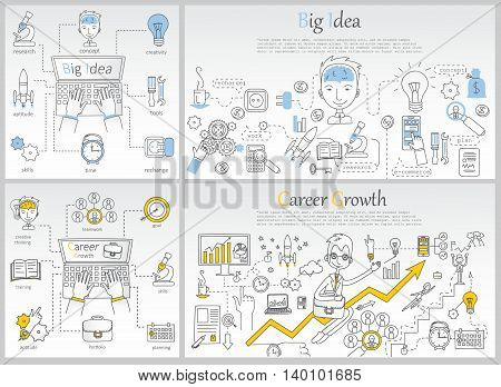 Doodle line design of web banner templates with outline icons of career growth,big idea, creative thinking. Modern vector illustration concept for website or infographics.