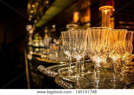 Glass Of Champagne Served On A Tray