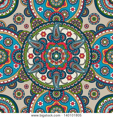 Indian paisley mandala seamless pattern. Vector illustration