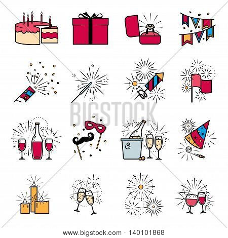 Party celebration fireworks engagement icons set. Vector illustration