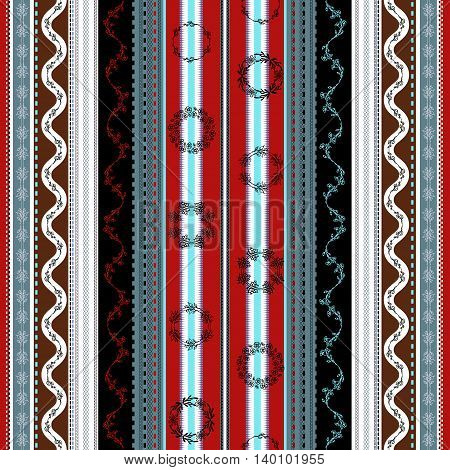 Ethnic boho seamless pattern. Tribal art print. Indian traditional ornament. Colorful border background texture. Fabric, cloth design, wallpaper, wrapping