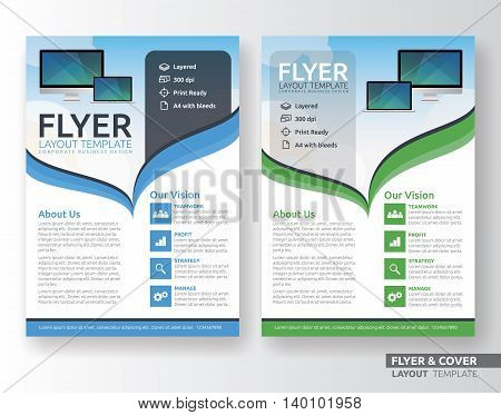 Multipurpose corporate business flyer layout design. Suitable for flyer brochure book cover and annual report. Blue and green color in A4 size template background with bleeds. Vector illustration