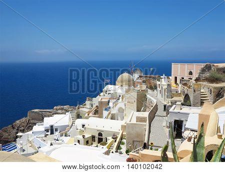 Romantic beautiful cityscape and blue sky of Oia on Santorini island in Greece.