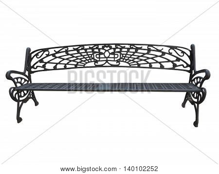 Old forged iron bench isolated on white background.