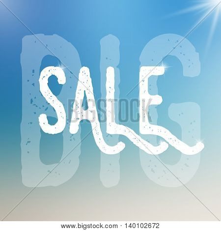 Vector big sale template. Big sale template on blurred colorful background.Template with text with different size and transparency. Sale text with sparkles. Sale card template for various use.