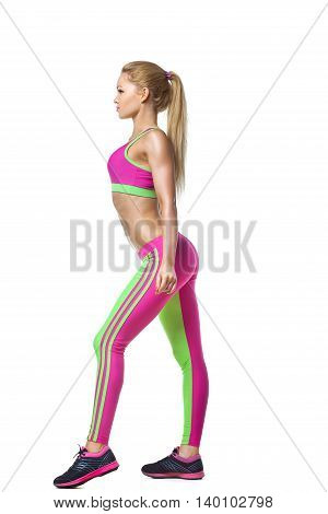 Young fitness woman full length body isolated on a white isolatedbackground
