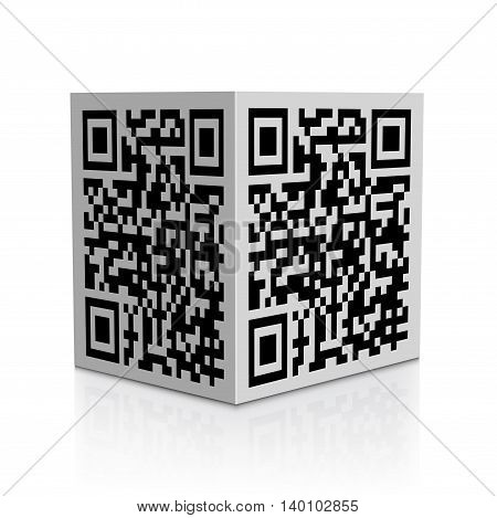 QR code on cube isolated on white background with reflection effect
